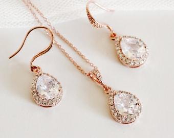 Rose Gold Bridal Jewelry Set Rose Gold Wedding Earrings Necklace Set Crstal Wedding Jewelry Set Bridesmaid Jewelry Set