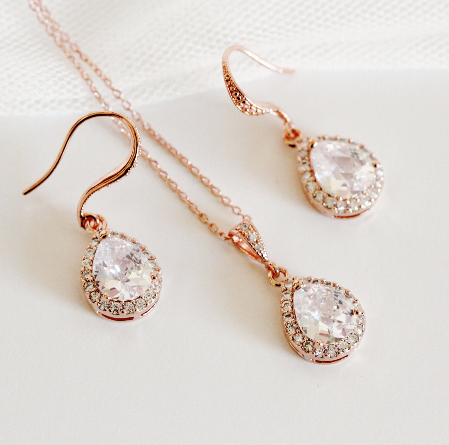 Rose Gold Bridal Jewelry Set Rose Gold Wedding Jewelry Set
