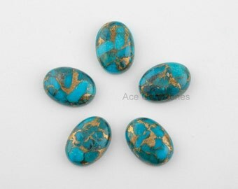 Blue Copper Turquoise Loose Gemstone, Smooth Calibrated Cabochons, Wholesale Gemstone, Turquoise Oval 13x18mm - 5Pcs