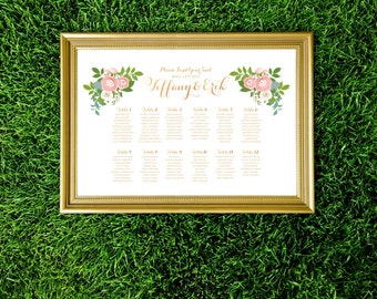 The JENNY . Seating Chart Wedding Table Names Sign . Printed on Heavy Paper, Foam Board or Canvas Rose Gold Calligraphy Copper Pink Peonies