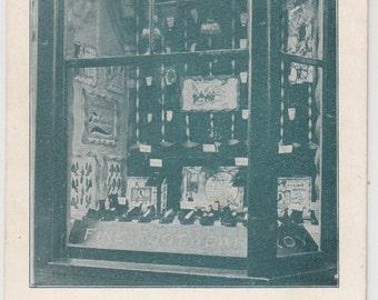 Circa 1910 Roy's Bargain Shoe Store Windows Display Antique Postcard