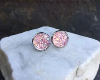 Pink Earrings, Pink Faux Druzy Earrings, Post Earrings, Soft Pink Earrings, Sensitive Ears, Hypo-Allergenic, Stainless Steel