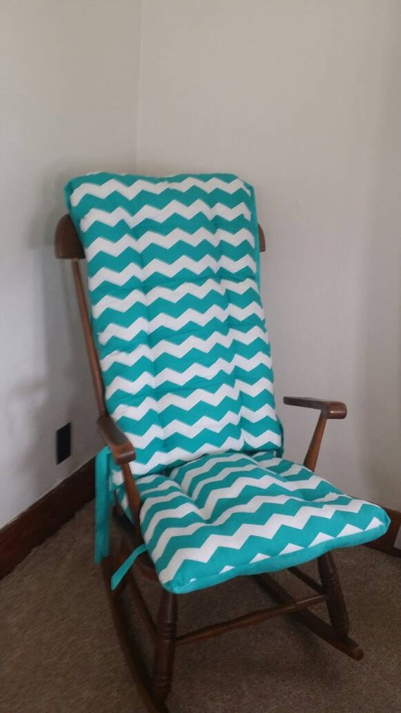 Items Similar To Custom Teal Chevron Rocking Chair Cushions Glider Replaceme