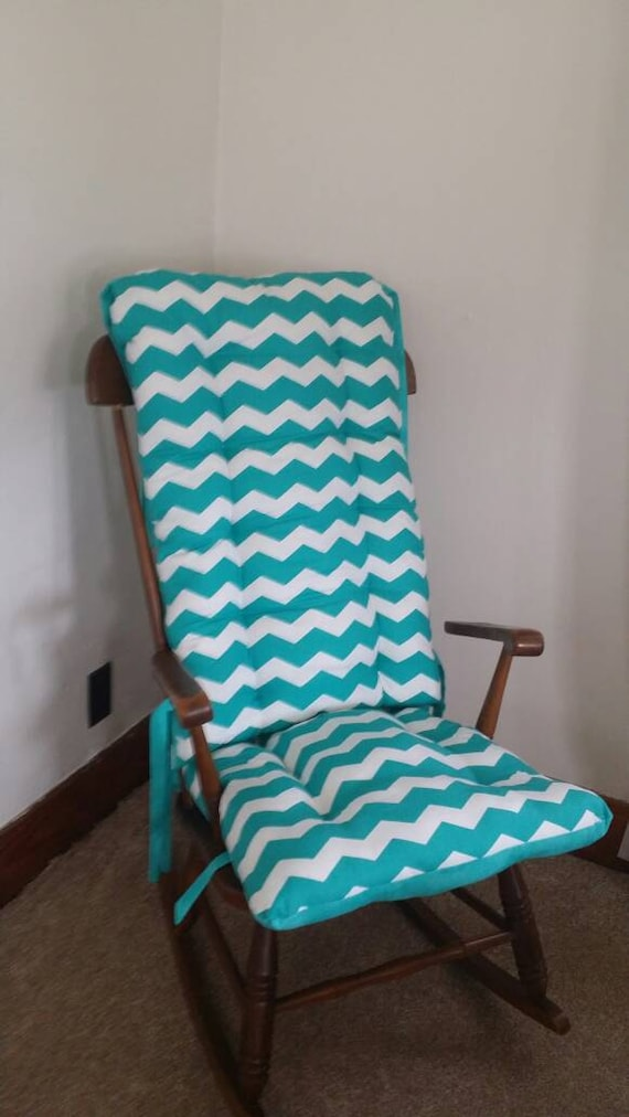 Items similar to custom teal chevron rocking chair