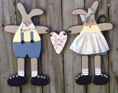 Happy Spring Country Primitive Bunny Couple - Solid Wood - Wall Hanging - FAAP, HAFAIR, OFG, TeamHaHa
