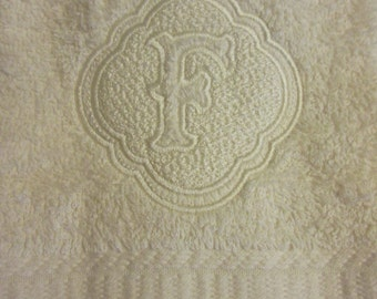 Embossed Monogram hand towel