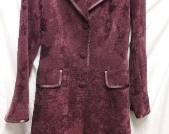 Woven Velour, Vintage Inspired Vineyard Design, Dark Wine Full Length Coat
