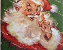 Vintage Christmas Card - Snowy Santa Pointing Finger - Used Rust Craft