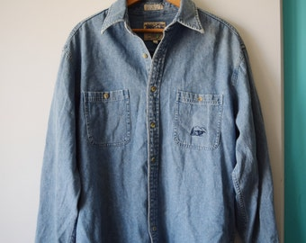 90s grunge denim button up shirt, men's M