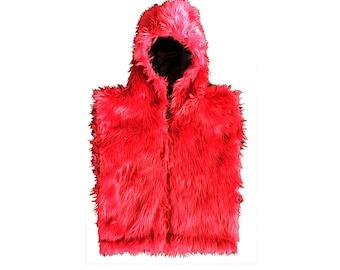 Faux Fur Hoody Vest-Burning Man Playa or Rave wear!