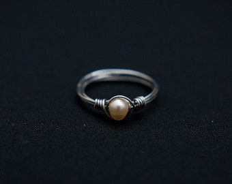 Pearl Wire Wrap Ring