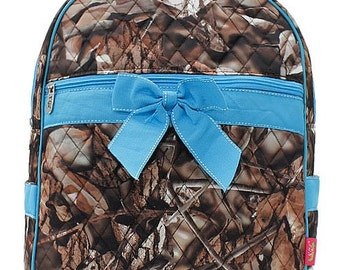 Camouflage Print Quilted Monogrammed Backpack Turquoise Blue Trim