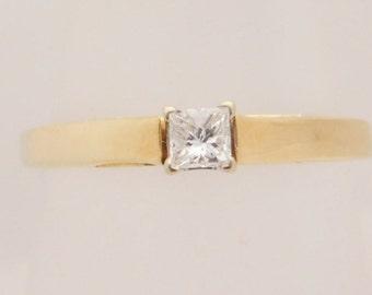 0.24 Carat Princess Cut Diamond Solitaire Ring 14K