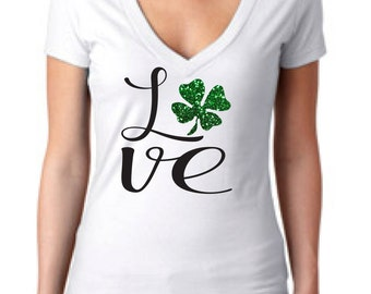 St Patricks Day shirt, womens St Patricks Day shirt, shamrock shirt, glitter shamrock shirt, St Paddys Day, Irish shirt