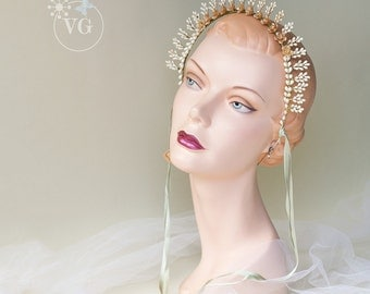 1930's Vintage Liberty Starburst Wax Coronet Wedding Tiara Orange Blossom Headpiece Deadstock with Tags Vintage 30's Art Deco Bohemian