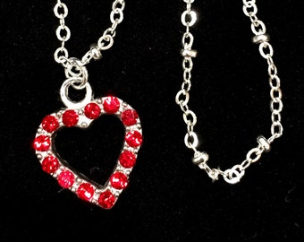 Red Swarovski Pendant Necklace, Swarovski Necklace, Swarovski Crystal Heart Necklace, Heart Pendant Necklace, Valentines Day Gift