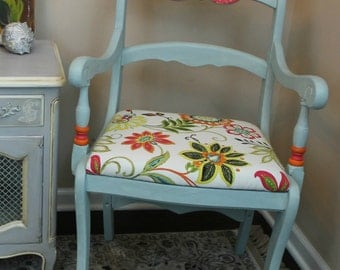 SOLD - Gazania Country Chic Carved Wooden Flower Chair