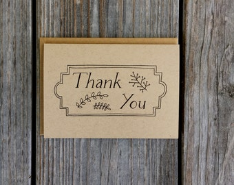 Retro Thank You Cards, Rustic Thank You Cards, Vintage Style Thank You Cards Set