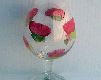 Mixed drink, hand painted flower, glass