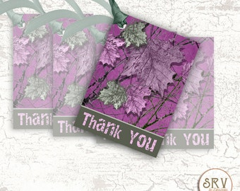 8 Pink Camo Gift Tags, Handmade Thank You Tags, 2.5 x 3.5 Hang Tag, Tree Branches and Leaves Product Tag, Choose Ribbon Color