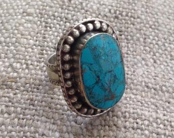 Turquoise TibetanSilver Ring