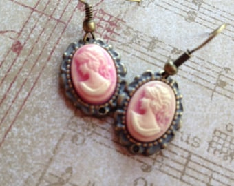 Pale Pink Cameo Earrings, Rhinestone Cameo Earrings, Gifts For Her, Vintage Look