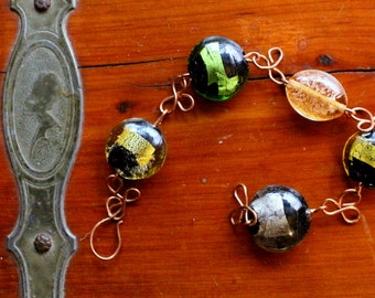 bee bracelet: multicolored lampwork glass beads with copper clover links