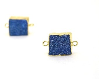 Blue Druzy Connector Bead | Navy Blue Druzy Gold Plated Connector | 12mm - 16mm Square