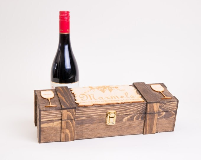 Personalized Wine Box, Wedding Wine Ceremony, Wine Glass, Rustic Wood Wine Case, Wine Display Box, Wedding Anniversary Gift, Engraved W01