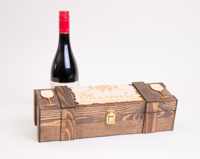 Personalized Wine Box, Wedding Wine Ceremony, Wine Glass, Rustic Wood Wine Case, Wine Display Box, Wedding Anniversary Gift, Engraved W01