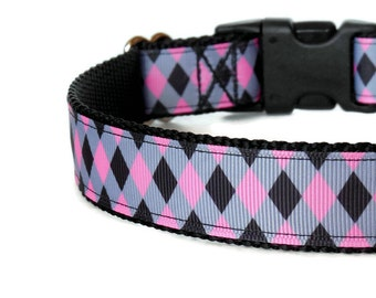 Preppy Black, Pink, and Gray Argyle Girl Dog Collar (Buckle or Martingale)