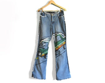 Hand Painted Cruisin' Hot Rod w/ Flames Light Wash Jeans with Raw Hem