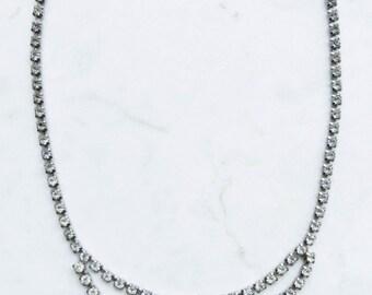 Vintage Rhinestone Clear Crystal Necklace - Wedding
