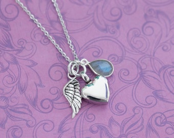 Mini Labradorite Memorial Pendant with Angel Wing - Cremation Jewelry - Engraved Jewelry - Urn Necklace - Pet Memorial - Ash Necklace