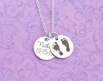 Actual Baby Footprint Pendant - Mommy Jewelry - Mother's Day - New Mom - Keepsake - Heirloom - Engraved Baby Feet - Engraved Jewelry