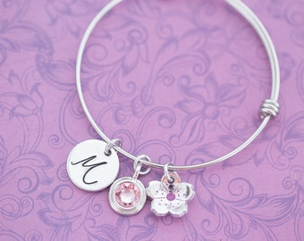 Hand Stamped Adjustable Bangle Bracelet with Birthstone Crystal and Cherry Blossom - Hand Stamped Jewelry