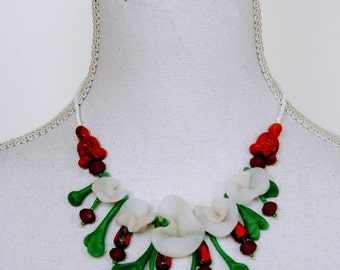 polymer clay necklace: white blossoms