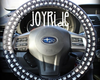 Steering Wheel Cover Black and White Elephants in a Row with Matching Keychain Option Christmas Present for Girls Car Accessories
