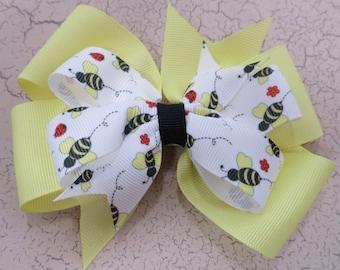 Bumble Bee and Ladybugs Double Pinwheel Hair Bow, Summertime Hair Bow, Springtime Hair Bow