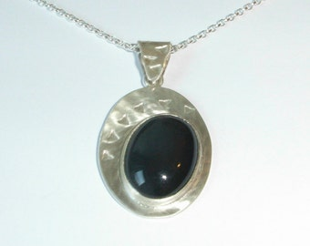 Oval Pendant in Hallmarked Sterling Silver - Satin Finish - Black Onyx Large Cabochon. Silver Chain Included. Free Worldwide Shipping