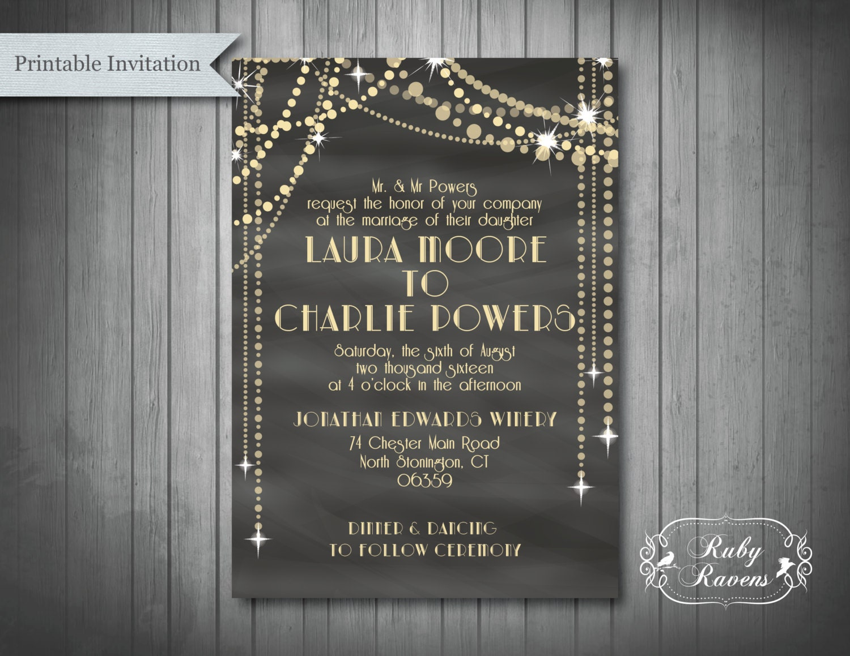 Gatsby Wedding Invites: Great Gatsby Inspired Wedding Invitation 1920's Bridal