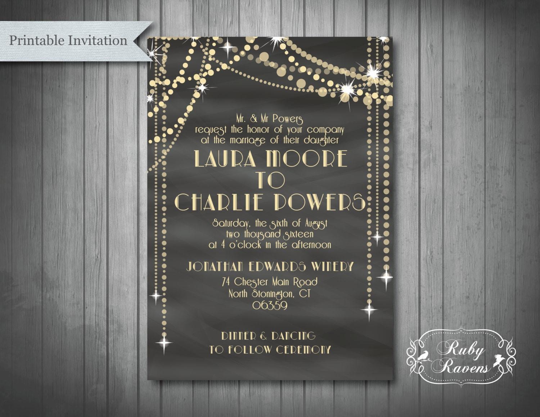Great Gatsby Wedding Invitation: Great Gatsby Inspired Wedding Invitation 1920's Bridal
