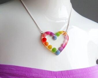 Clear Resin Rainbow Heart Shaped Pendant Necklace Huge Chunky Kawaii Kitsch Candy Rave Festival Summer Kawaii Christmas Charm Kitsch