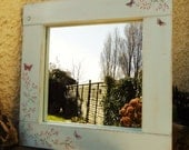 Shabby Chic Reclaimed wood Hand Painted Blossom Duck Egg Mirror
