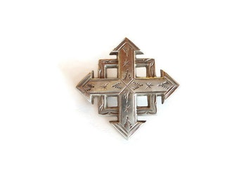 Victorian jewelry, silver victorian brooch, sterling silver brooch pin, silver cross pin, collectible jewellery, antique jewelry for her