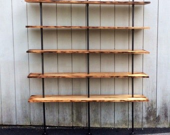 The Hemingway Wall Mount Bookcase Reclaimed Wood Bookshelf Pipe Wall  Bookshelf Shelf Built In Industrial Shelving
