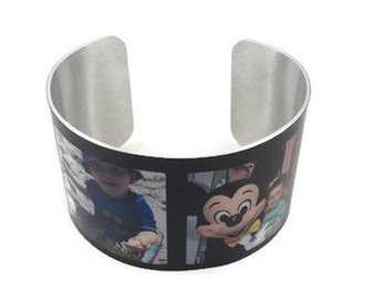Custom Aluminium Photo Cuff Bracelet 4 photos
