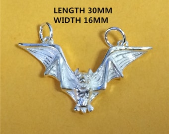 Sterling Silver Bat Charm, Sterling Bat Charm, Bat Charm for Necklace Bracelet Earring, 925 Silver Bat Charm - HY22