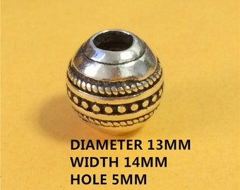 Sterling Silver Large Hole Round Bead, 925 Silver Ball Bead, European Bracelet Bead, Spacer Bead, Bracelet Bead - E691