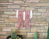 INDIE MARSHA - Bohemian Industrial Chic Pink + Cream ColorBlock Mixed Fiber Macrame Wall Hanging on Gold Pipe